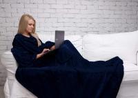 Плед Sleepy Original с рукавами и поясом, темно-синий