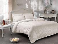 Жаккардовое постельное белье Tivolyo Bambura, кремовое