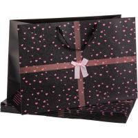 Широкий подарочный пакет Черный с розовыми сердечками
